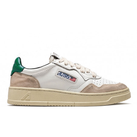 """AUTRY LOW SNEAKERS IN LEATHER & SUEDE """"White / Green"""""""