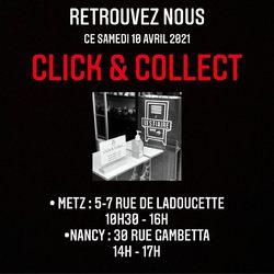 📍CLICK & COLLECT 🛍📍 —————————————————————————— Samedi 10 Avril 2021 🗓 —————————————————————————— • 5/7 Rue de Ladoucette 57000 METZ • 30 Rue Gambetta 54000 NANCY  Lundi  14h-19h Mardi à Vendredi  10h30-12h30  14h-19h Samedi  10h30-19h ——————————————————————————